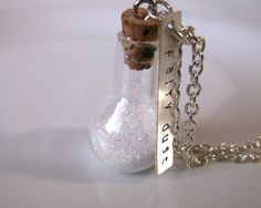 Fairy dust necklace, white glitter, stamped charm, pixie dust, cute gift