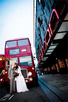Red buses always look so striking in your wedding pictures too. It's perfect if you've found the perfect London wedding venue and you want to build on that theme. Be inspired by this gorgeous shot, taken outside the Everyman Theatre. Wedding Car Decorations, Wedding Cars, Wedding Venues, Wedding Transportation, Red Bus, London Wedding, Wedding Pictures, Big Day, Wedding Planning