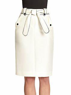 Carolina Herrera Piped Cotton/Silk Pencil Skirt - so simple but gorgeous