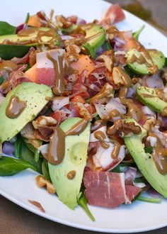 lunch: Spinach, proscuitto, cantaloupe, avacado, walnuts and paleo dijon vinaigrette... yum!!!