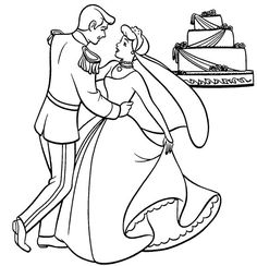 Wedding, Prince And Princess Dance In Front Of Their Wedding Cake Coloring Page: Prince