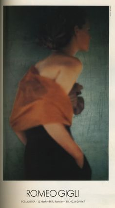 Romeo Gigli ad photographed Paolo Roversi, scanned from Vogue UK, February 1989.