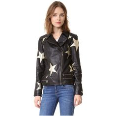 Scotch & Soda/Maison Scotch Stars Leather Jacket ($500) ❤ liked on Polyvore featuring outerwear, jackets, black, zip jacket, biker jacket, embroidered leather jacket, embroidered jacket and genuine leather biker jacket