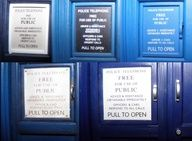 I love how the PULL TO OPEN bit has gotten progressively bigger as time went on, even tried italicizing once. It's like she gets more frustrated each time. She is totally trying to get him to notice the pull to open. The next Doctor will probably have a sign that says PULL TO OPEN YOU IDIOT!