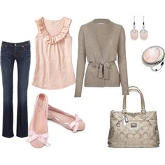 A fashion look from August 2011 featuring brown cardi, ruffle shirt y bootcut jeans. Browse and shop related looks.