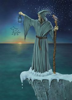Merlin from The Celtic Tarot, a Tarot deck by Kristoffer Hughes and illustrated by Chris Down.