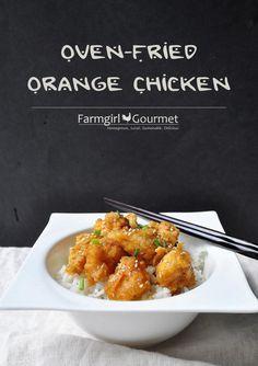 Oven Fried Orange Chicken ````````````````````````````````````````````````````````````````` So, basically, Baked Orange Chicken.
