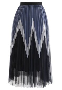 Zigzag Double-Layered Pleated Tulle Midi Skirt in Black - Retro, Indie and Unique Fashion
