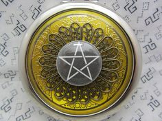 Compact Mirror with Pentagram On Gold Comes With Protective Pouch