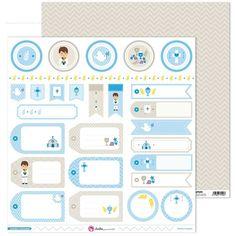 Papel Comunión niño 30,5 x 30,5 cm. Etiquetas. Anita y su mundo
