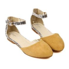 New Arrival Comfortable Sequins and Buckle Design Flat Shoes For Women