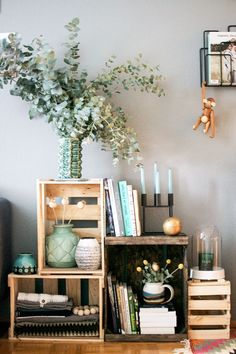 Decorating With Wine Crates-- try as potential nightstand?