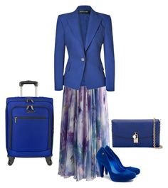 """""""Blue bag/shoes"""" by sally-a-chapman ❤ liked on Polyvore featuring Chicwish, Balmain, Melissa, Traveler's Choice and Dolce&Gabbana"""