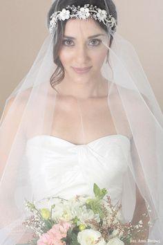 bel aire nupcial accesorios para el cabello velo de novia de flores Lover corona diadema historia romántica