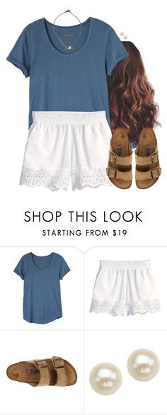 """Blue and white"" by aweaver-2 on Polyvore featuring RVCA, H&M, Birkenstock and Honora"