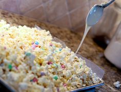 White Chocolate Popcorn: I think this would be best with stove popped corn and actual white baking chocolate