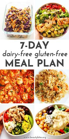 Dairy-Free Gluten-Free Meal Plan and Challenge with healthy and tasty anti-inflammatory recipes to have more energy, feel better and maybe even lose weight! The challenge includes dairy-free and gluten-free recipes for breakfast, lunch and dinner and Gluten Free Meal Plan, Gluten Free Recipes For Breakfast, Free Meal Plans, Dairy Free Recipes Easy, Dairy Free Dinners, Gluten Free Recipes For Lunch, Gluten Free Dinner, Lactose Free Appetizer Recipes, Dairy Free Lunches
