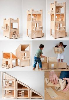 This is hands-down the most clever piece of toy design I've come across in quite a while. The Dutch designed Toideloi Stackhouse is a modular dollhouse for boys and girls - slot the wooden pieces together to build a house, sky-scraper, village or castle - Woodworking Projects, Diy Projects, Toy House, Baltic Birch Plywood, Tiny Dolls, Wood Toys, Wood Kids Toys, Toys For Boys, Girls Toys