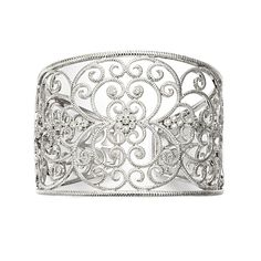 """Sterling Silver """"Levana"""" Scroll Cuff Bracelet Accented with Round Cut Diamonds. Designed by Leslie Greene."""