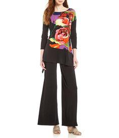 f4310866368 Eva Varro Easy Draped Asymmetrical Floral Print Tunic