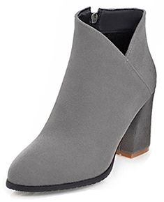 617f9e36c6a6 Aisun Womens Trendy Inside Zip Up Pointed Toe Dressy Booties Block High Heel  Ankle Boots With