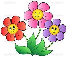 coloring cartoon spring face | drei Cartoon-Blumen - Stockilllustration