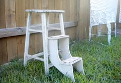 Vintage White Grey Stepping Stool Wood Fold Out Steps Kitchen Stool, Step Ladder…