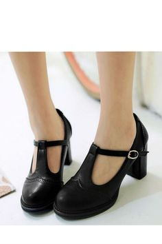 Vintage Black T-Strap High Heel SHoes
