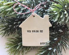 new home Christmas ornament personalized with your address Bohemian Christmas, Noel Christmas, Merry Little Christmas, Homemade Christmas, Simple Christmas, Winter Christmas, Rustic Christmas, Primitive Christmas, Father Christmas