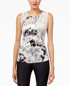 Calvin Klein Pleated Floral-Print Shell | macys.com