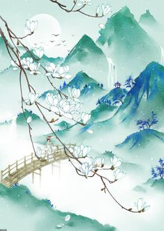View top-quality illustrations of Traditional Chinese Painting With Woman With Umbrella On Bridge Over River And Mountains. Find premium, high-resolution illustrative art at Getty Images. Asian Landscape, Chinese Landscape Painting, Japanese Landscape, Japanese Painting, Fantasy Landscape, Chinese Painting, Landscape Art, Japanese Art, Landscape Paintings