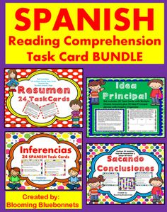 This SPANISH Reading Comprehension Task Cards Bundle includes 112 cards on Resumen, Idea Principal, Sacando Conclusiones, and Inferencia.  Each set includes multiple choice questions and answer keys.  The Sacando Conclusiones set includes a bonus game board which can be used by students in a learning center.
