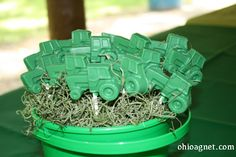 tractor themed birthday party ideas | Using a tractor mold equipped with room for a stick I melted Wilton ...
