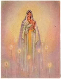 Vintage Greeting Card Christmas Religious Madona Child Mary Baby Jesus (O265)