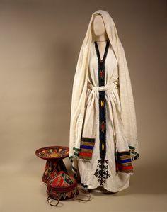 Ethiopian woman's attire, embroidered cotton, mid 20th c