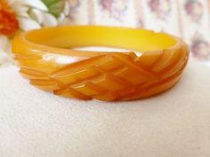 Vintage Carved Bakelite Large Bangle Bracelet
