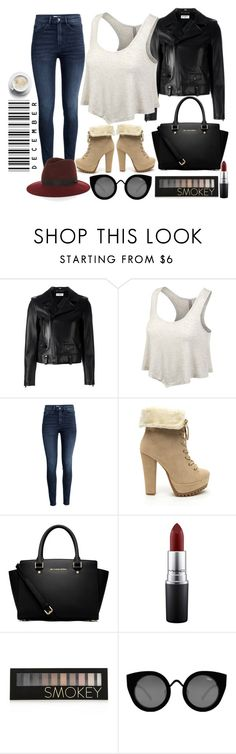 """""""URBANCLEO Cropped Flare Basic Tank Top"""" by urbancleo ❤ liked on Polyvore featuring Yves Saint Laurent, H&M, MICHAEL Michael Kors, MAC Cosmetics, Forever 21, Quay and rag & bone"""