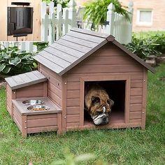 NEW Large Fir Wood Dog House Cabin Kennel & 2 Dog Bowls INTERNATIONAL SHIP