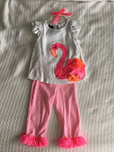 Mud Pie girl's 24 month/2T pink flamingo outfit in excellent used condition with no stains or holes. White ruffle sleeve shirt with appliquéd pink flamingo with sequin body and fluttery pink and orange feathers. | eBay!