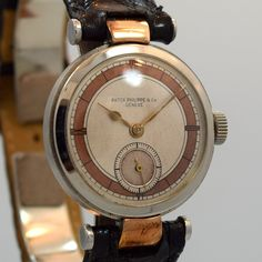 1931 Patek Philippe 18k Rose Gold Lugs & Stainless Steel Watch
