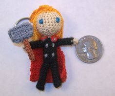 MINI Thor Crochet Doll Keychain Option by PaintsAndNeedles on Etsy  ||  Flowing blonde hair, red cape, a picky hammer, and a head the size of a quarter.