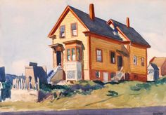 House in Italian Quarter: 1923 by Edward Hopper - watercolor (Smithsonian American Art Museum and Portrait Gallery, Washington, DC) American Realism, American Artists, David Hockney, Patrick Nagel, Edward Hopper Paintings, Monet, Ashcan School, Robert Rauschenberg, Portraits