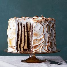 Eggnog semifreddo genoise cake with meringue frosting. YOU GUYS. Get the recipe in our #December issue. (Photo by Aya Brackett)