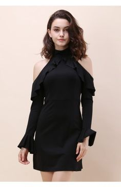 Full of Charm Cold-shoulder Dress in Black - Dress - Retro, Indie and Unique Fashion