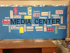 Word cloud bulletin board for the library - have students suggest words to make it a collaborative effort