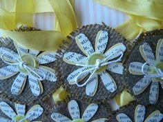 Yellow Flower Burlap Tags...set of 6. $6.00, via Etsy.