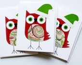 stitched owl Christmas cards...how cute!