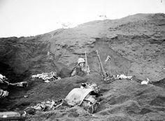 Marines digging in. Iwo Jima - February 1945