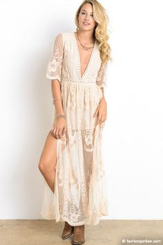 4821931b935 42 Stunning Lace Dress To Rock This Summer. Low Cut Plunging Neckline Sheer  Lace Dress-Off White Sage 100