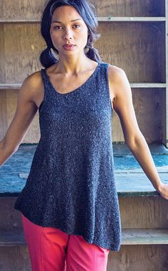 Free knitting pattern for Maderia asymmetric top